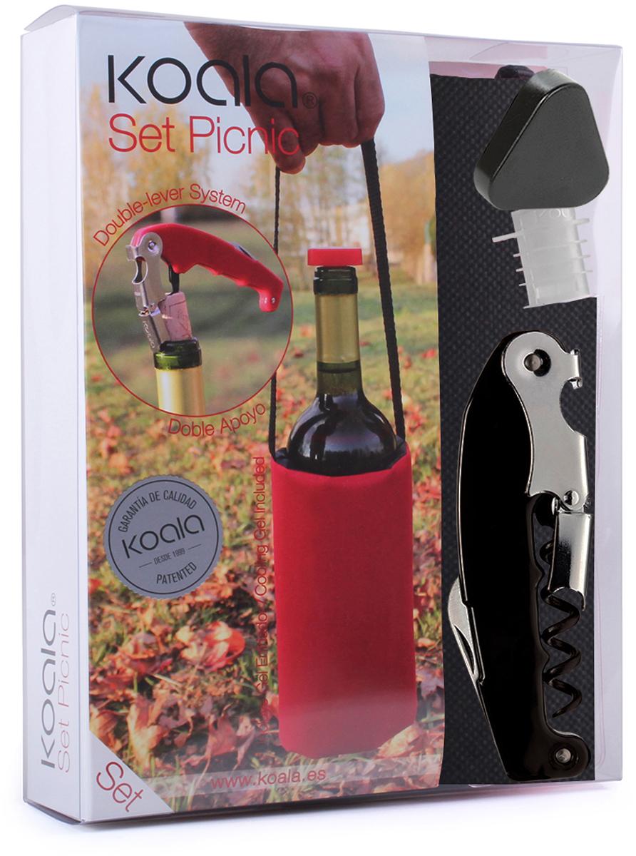 Набор для вина Koala Picnic, цвет: черный, 3 предмета6442NN01Набор для вина Picnicот испанского бренда Koala - идеальный сет для использования на природе и в путешествиях.В набор входят: штопор Retro, пробка-каплеуловитель, сумка для охлаждения вина. Штопор Retro:- Позволяет комфортно срезать фольгу, открыть бутылку с вином.- Тефлоновая спираль легко входит в пробку, предотвращая ее разламывание.- Умная головка с 2-рычажной системой позволяет извлечь пробку двумя движениями.- Храповый механизм двойного рычага с 7 позициями способствует комфортному открыванию бутылки.- Эргономичная рукоятка.Пробка-каплеуловитель:- Каплеуловитель надежно фиксируется в горлышке.- Пробку легко вставлять и извлекать из бутылки.- Стильное дополнение - яркая треугольная крышка.Сумка для охлаждения вина:- Длинная ручка позволяет удобно переносить вино и брать с собой в дорогу.- Внутренний съемный гелевый слой для охлаждения бутылки за 60 минут. Информацию по рекомендуемым температурам охлаждения вин вы можете найти на упаковке товара.