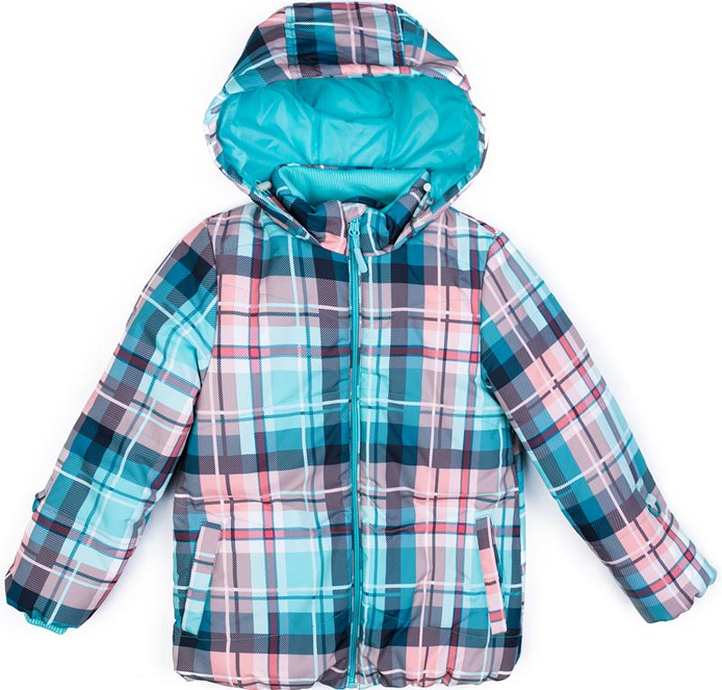 Куртка для девочки PlayToday, цвет: голубой, розовый, серый. 372102. Размер 116372102Теплая куртка от PlayToday на молнии с водоотталкивающей пропиткой - отличное решение для холодной зимы. Специальный карман для фиксации бегунка на молнии не позволит застежке травмировать нежную детскую кожу. Модель дополнена вшивным капюшоном с регулируемым шнуром-кулиской. На внутренней стороне капюшона расположены скрытые карманы для стопперов кулиски. Манжеты и воротник куртки выполнены из мягкого трикотажа. Подкладка - из теплого флиса. Изнутри модель дополнена удобной ветрозащитной юбкой для дополнительного сохранения тепла. Наличие светоотражателей обеспечат безопасность ребенка - он будет виден в темное время суток.