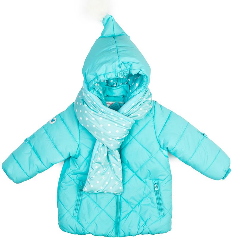 Куртка для девочки PlayToday, цвет: голубой. 378051. Размер 74378051Теплая куртка от PlayToday на молнии. Вшивной капюшон сделан в виде колпака, декорированным помпоном из искусственного меха. Внутренняя отделка выполнена из велюра в тон изделия. Светоотражатели обеспечат безопасность ребенка в темное время суток. Горловина, манжеты и низ изделия на мягких трикотажных резинках. Куртка дополнена оригинальным плотным утепленным шарфом из материала полностью повторяющего материал куртки.
