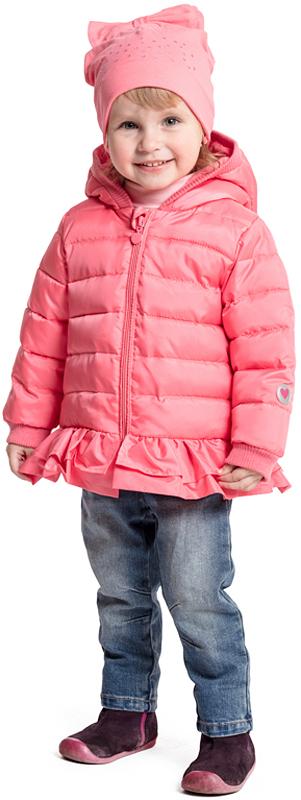 Куртка для девочки PlayToday, цвет: розовый. 378004. Размер 80378004Яркая утепленная куртка PlayToday, выполненная из водоотталкивающей ткани, - отличное решение для промозглой погоды. Модель на молнии, специальный карман для бегунка не позволит застежке травмировать нежную детскую кожу. Хлопковая подкладка хорошо впитывает лишнюю влагу. Манжеты на широких трикотажных резинках для дополнительного сохранения тепла. Низ куртки на резинке, декорирован небольшой оборкой. Светоотражатели обеспечат видимость ребенка в темное время суток.