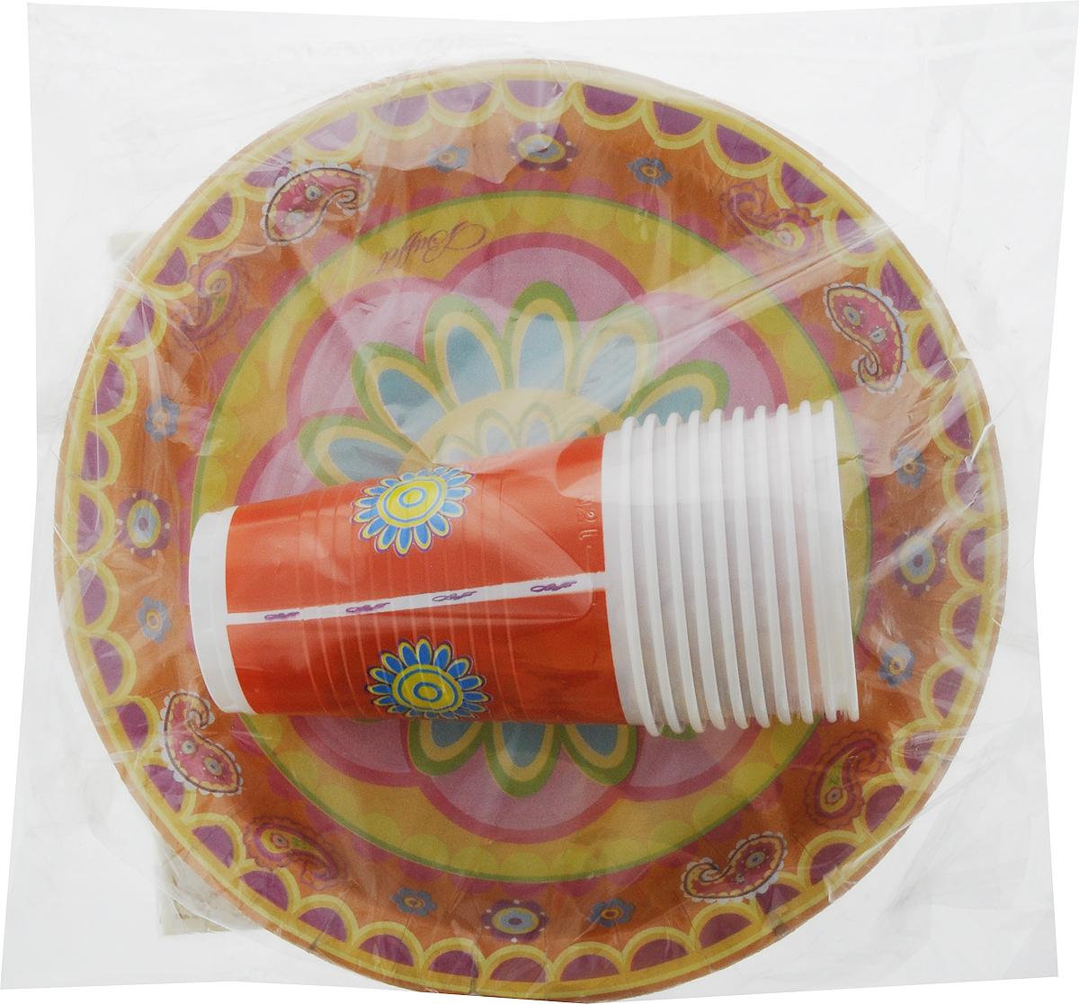 Набор одноразовой посуды Мистерия Стандарт, цвет: желтый, оранжевый, розовый, 40 предметов187405_желтыйНабор одноразовой посуды Мистерия Стандарт на 10 персон включает 10 тарелок, 10 стаканов и 20 салфеток. Посуда предназначена для холодных и горячих (до +70°С) пищевых продуктов и напитков. Стаканы выполнены из прочного полипропилена, а тарелки - из ламинированного картона. В комплекте также имеются трехслойные бумажные салфетки. Все предметы набора дополнены ярким красочным рисунком. Такой набор посуды отлично подойдет для отдыха на природе, пикников, а также детских праздников. В нем есть все необходимое. Он легкий и не занимает много места, а самое главное - после использования его не надо мыть. Объем стакана: 200 мл. Диаметр стакана (по верхнему краю): 7 см. Высота стакана: 10 см. Диаметр тарелки: 23 см. Размер салфетки: 33 х 33 см.