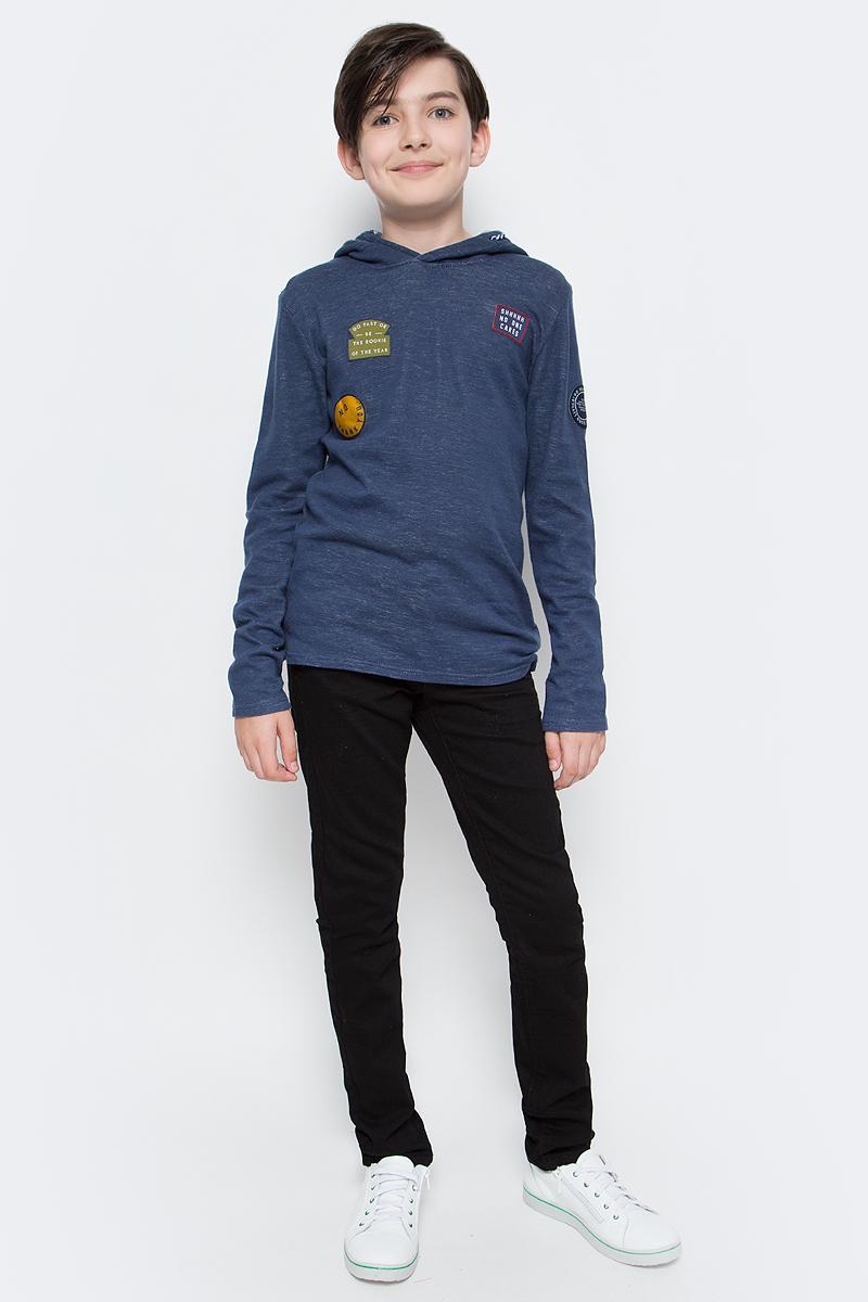 Джемпер для мальчика Tom Tailor, цвет: синий. 1038580.00.30_6758. Размер 1521038580.00.30_6758Джемпер Tom Tailor выполнен из натурального хлопка. Модель с длинными рукавами и капюшоном на кулиске.