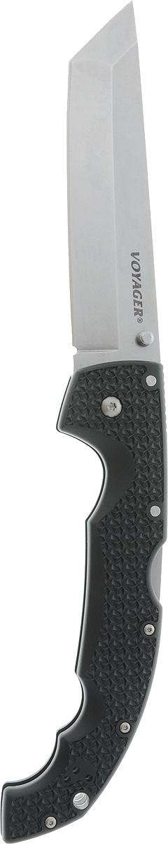 Нож складной Cold Steel Voyager, общая длина 30,5 см. CS/29TXCTCS/29TXCTСкладной нож Cold Steel Voyager, выполненный в оригинальном стиле, станет отличным подарком для рыбака, охотника или человека, который ценит отдых на природе. Изделие имеет лезвие, изготовленное из нержавеющей стали. Нож можно удобно закрепить на поясе или кармане при помощи фиксированной клипсы. Рукоятка выполнена с отверстием для страховочного корда или ремня. Нож имеет дополнительную клипсу, которая может быть установлена на любую сторону ( для правши и для левши).Размер ножа в открытом виде: 30,5 см.Длина лезвия: 13 см.Длина в сложенном виде: 17,5 см.