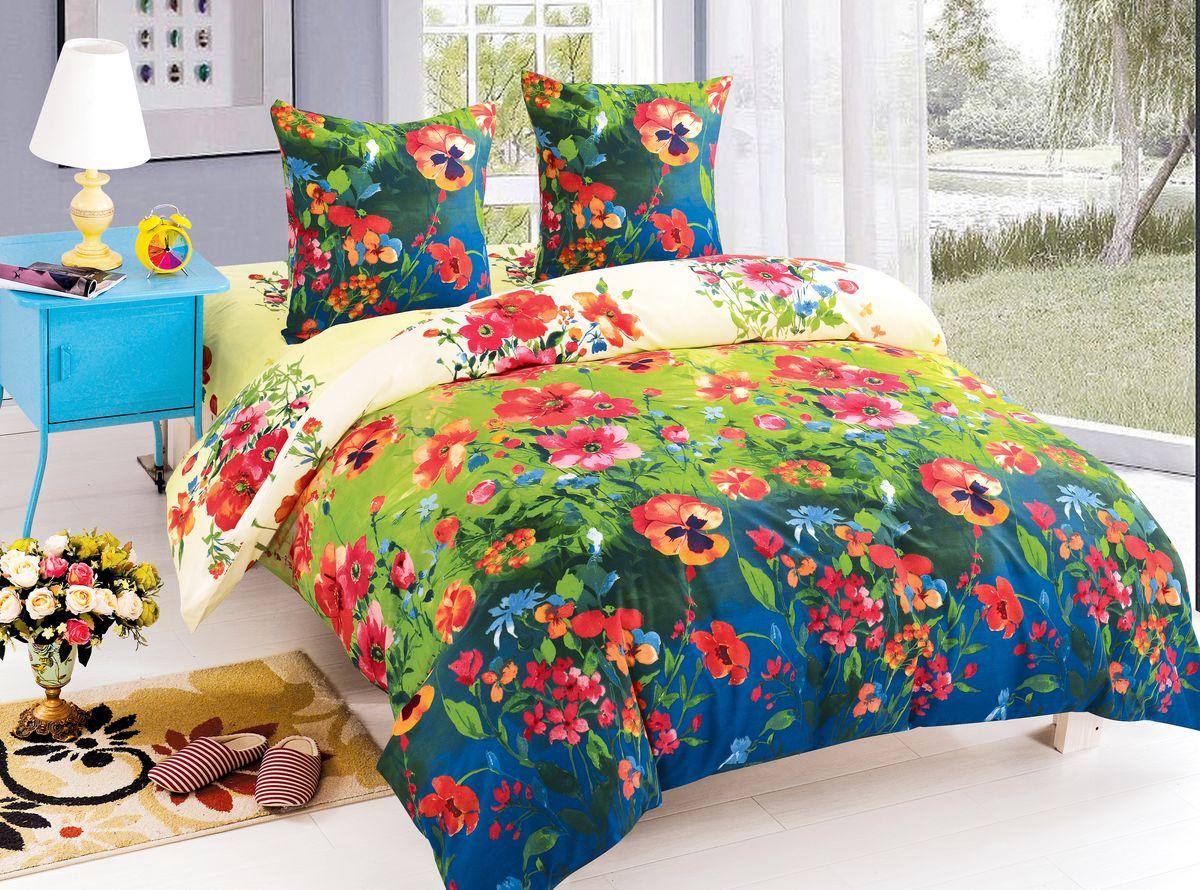 Комплект белья Amore Mio Arianna, 2-спальный, наволочки 70х70, цвет: зеленый, синий, красный. 84061