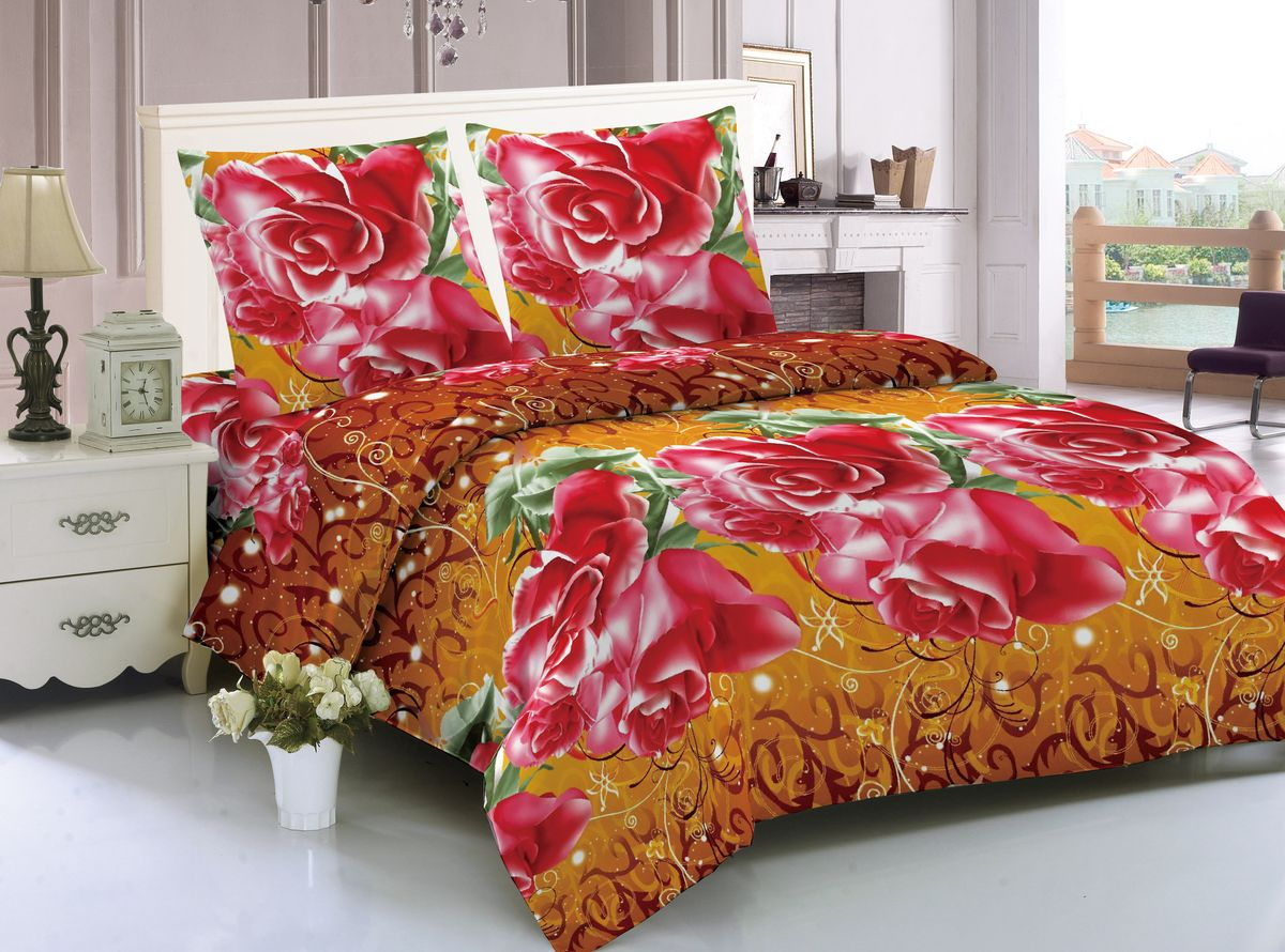 Комплект белья Amore Mio Marseilles, 2-спальный, наволочки 70х70, цвет: коричневый, красный, желтый