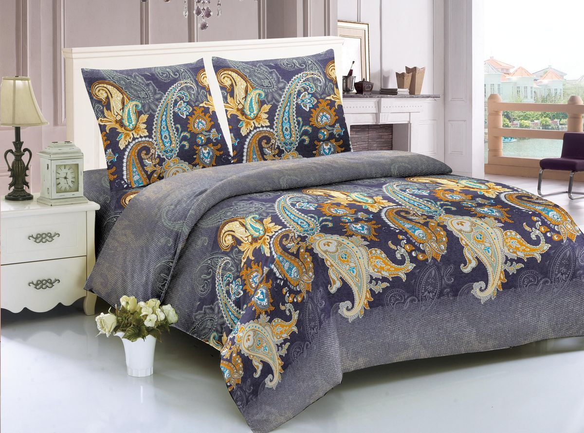 Комплект белья Amore Mio Hague, евро, наволочки 70х70, цвет: фиолетовый, желтый, коричневый комплект полутораспальный amore mio bz hague