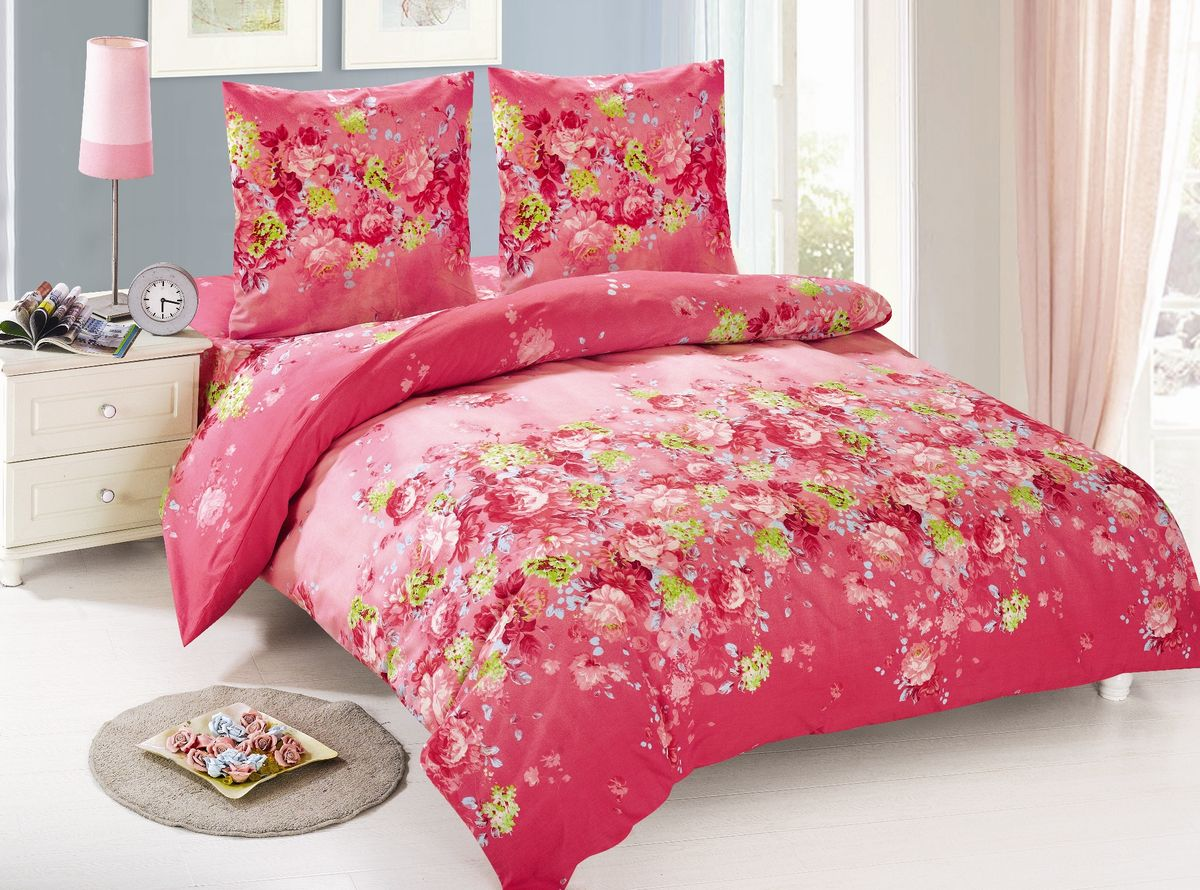Комплект белья Amore Mio Kayla, 1,5-спальный, наволочки 70х70, цвет: красный, розовый85943Комплект постельного белья Amore Mio является экологически безопасным для всей семьи, так как выполнен из поплина (100% хлопок). Постельное белье оформлено оригинальным рисунком и имеет изысканный внешний вид.Поплин - европейский аналог бязи. Это ткань самого простого полотняного плетения с чуть заметным рубчиком, который появляется из-за использования нитей разной толщины. Состоит из 100% натурального хлопка, поэтому хорошо удерживает тепло, впитывает влагу и позволяет телу дышать. На ощупь поплин мягче бязи. Благодаря использованию современных методов окраски, не линяет и выдерживает множество стирок.Комплект состоит из пододеяльника, простыни и двух наволочек.Советы по выбору постельного белья от блогера Ирины Соковых. Статья OZON Гид