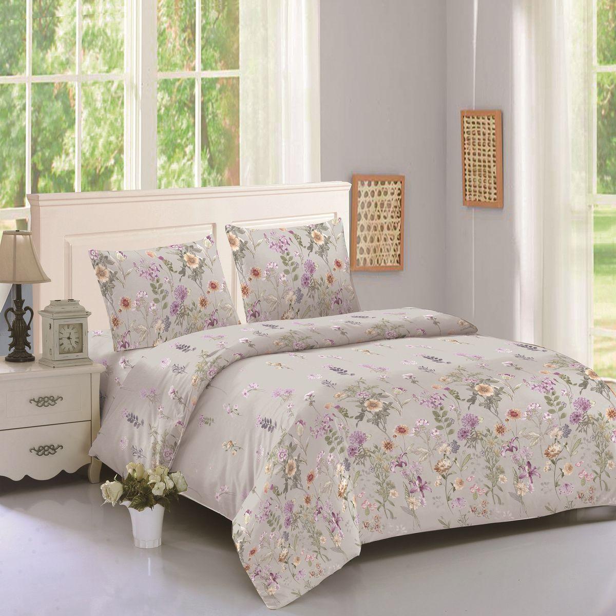 Комплект белья Amore Mio Julia, 1,5-спальный, наволочки 70х70, цвет: бежевый, зеленый, сиреневый