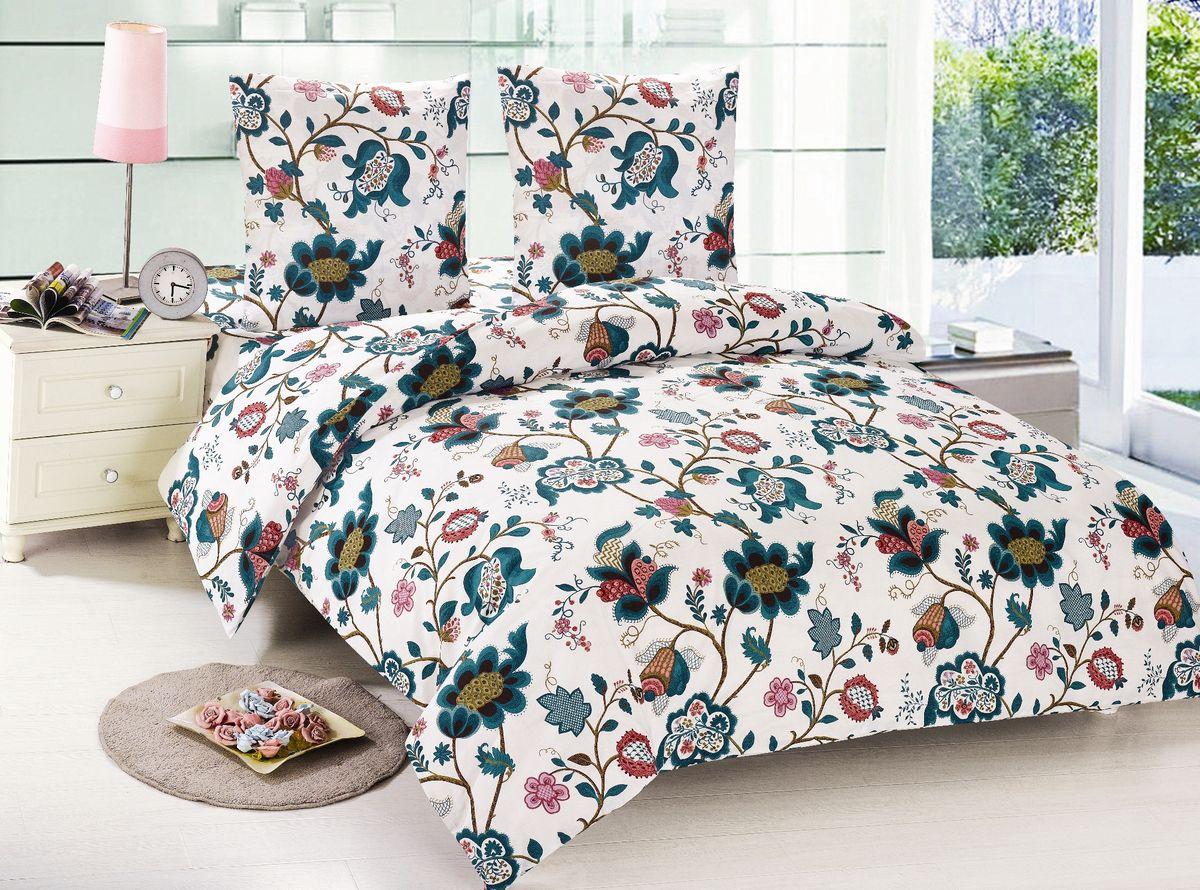 Комплект белья Amore Mio Olga, 1,5-спальный, наволочки 70х70, цвет: белый, зеленый85946Постельное белье Amore Mio из поплина - оригинальные дизайны и отменное качество. Ткань - плотная и легкая, яркие рисунки, отменное качество пошива.