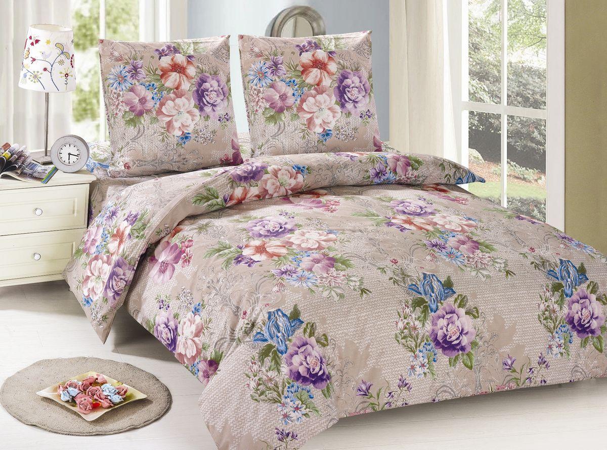Комплект белья Amore Mio Helen, 2-спальный, наволочки 70х70, цвет: бежевый, сиреневый, голубой