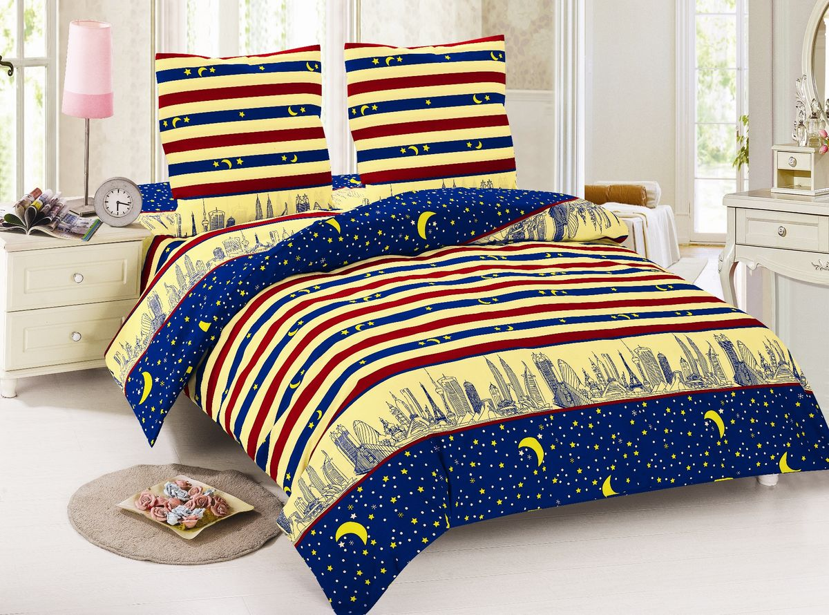 Комплект белья Amore Mio Dylan, евро, наволочки 50x70, 70х70, цвет: синий, желтый, красныйФл_Отражение_1,5спКомплект постельного белья Amore Mio является экологически безопасным для всей семьи, так как выполнен из поплина (100% хлопок). Постельное белье оформлено оригинальным рисунком и имеет изысканный внешний вид.Поплин - европейский аналог бязи. Это ткань самого простого полотняного плетения с чуть заметным рубчиком, который появляется из-за использования нитей разной толщины. Состоит из 100% натурального хлопка, поэтому хорошо удерживает тепло, впитывает влагу и позволяет телу дышать. На ощупь поплин мягче бязи. Благодаря использованию современных методов окраски, не линяет и выдерживает множество стирок.Комплект состоит из пододеяльника, простыни и четырех наволочек.Советы по выбору постельного белья от блогера Ирины Соковых. Статья OZON Гид