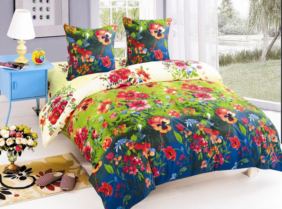 Комплект белья Amore Mio Arianna, 2-спальный, наволочки 70х70, цвет: зеленый, синий, красный. 8596885968Постельное белье Amore Mio из поплина - оригинальные дизайны и отменное качество. Ткань - плотная и легкая, яркие рисунки, отменное качество пошива. В комплект входит: пододеяльник 175 х 215 см, простыня (на резинке) 215 х 220 см, наволочка 70 х 70 см (2 шт).