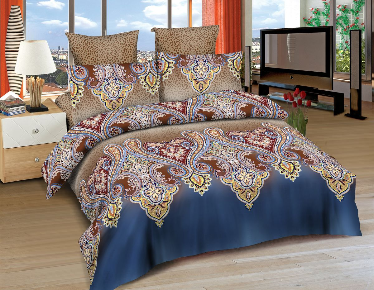 Комплект белья Amore Mio Agra, 1,5-спальный, наволочки 70х70, цвет: синий, коричневый, желтый постельное белье amore mio bz genoa комплект 1 5 спальный сатин 1061