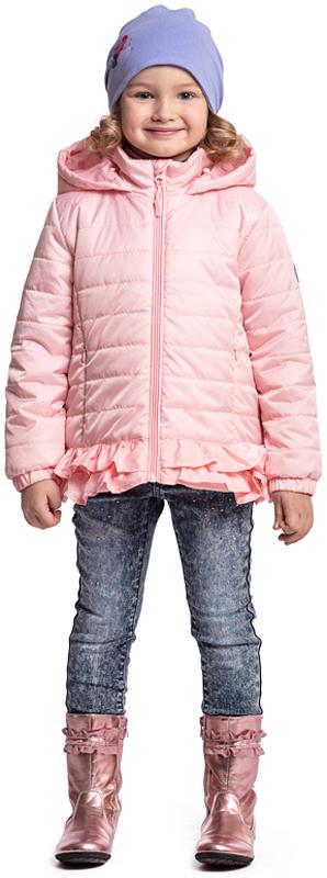 Куртка для девочки PlayToday, цвет: светло-розовый. 372053. Размер 128372053Стеганая утепленная куртка PlayToday выполнена из водоотталкивающей ткани. Модель на молнии, специальный карман для бегунка не позволит застежке травмировать нежную детскую кожу. Манжеты на широких трикотажных резинках для дополнительного сохранения тепла. Низ куртки на резинке, декорирован небольшой оборкой, дающей эффект юбочки. Светоотражатели обеспечат видимость ребенка в темное время суток. Модель с капюшоном.
