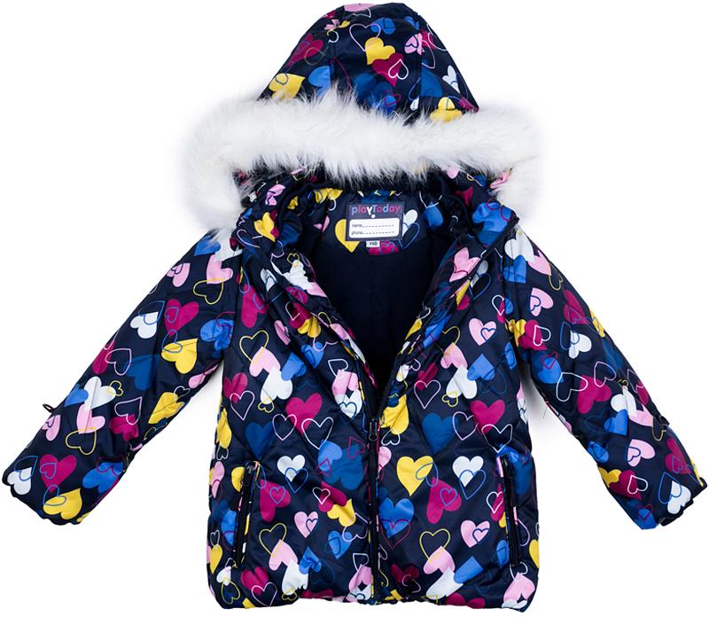 Куртка для девочки PlayToday, цвет: темно-синий, желтый, розовый. 372152. Размер 98372152Теплая стеганая куртка от PlayToday из ткани с водоотталкивающей пропиткой - отличное решение для холодной погоды. Вшивной капюшон декорирован искусственным мехом на кнопках. Подкладка выполнена из теплого флиса. Модель со снегозащитной юбкой. Рукава дополнены специальными кольцами для перчаток. Куртка на молнии. Специальный карман для фиксации бегунка не позволит застежке травмировать нежную детскую кожу. Трикотажный воротник не вызывает раздражений и неприятных ощущений.