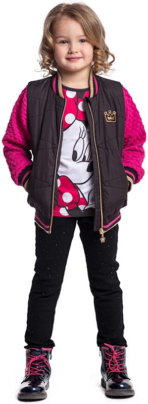 Куртка для девочки PlayToday, цвет: фиолетовый, розовый. 372004. Размер 110372004Утепленная куртка PlayToday выполнена из высококачественного материала. Модель с вшивными карманами на молнии. Рукава из мягкого трикотажа, в локтевой части декорированы практичными аппликациями-налокотниками из полиэстера. Горловина, низ и манжеты на мягких трикотажных резинках с добавлением люрекса. Куртка застегивается на молнию. Специальный карман для фиксации бегунка не позволит застежке травмировать нежную детскую кожу.