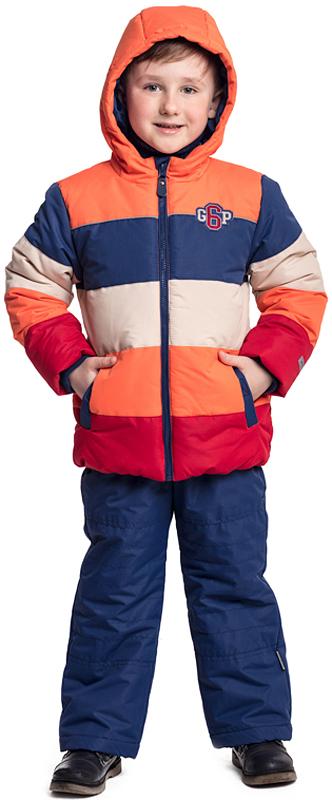 Куртка для мальчика PlayToday, цвет: оранжевый, синий, бежевый, красный. 371051. Размер 110371051Утепленная куртка PlayToday с капюшоном из водоотталкивающей ткани - отличное решение для холодной промозглой погоды. Модель на молнии, специальный карман для фиксации бегунка у горловины куртки не позволит застежке травмировать нежную детскую кожу. Капюшон на регулируемом шнуре-кулиске. С внутренней стороны для стопперов шнура предусмотрены скрытые карманы. Трикотажные манжеты из плотной резинки сохраняют тепло. Куртка с вшивными карманами на липучках, декорирована аппликацией. Светоотражатели обеспечат видимость ребенка в темное время суток.