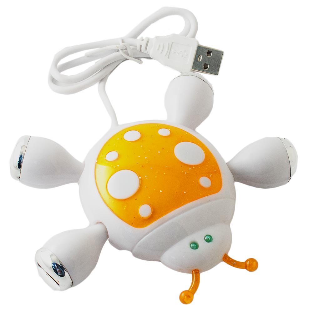 Эврика Божья коровка, Orange USB-концентратор95350Becелый, разноцветный разветвитель в виде забавного животного поможет подключить к компьютеру одновременно до четырех различных USB-приборов: зарядное устройство для телефона, флеш-накопитель, подогреватель для чашки, светильник, вентилятор, кулер или любой другой, снабженный соответствующим шнуром.