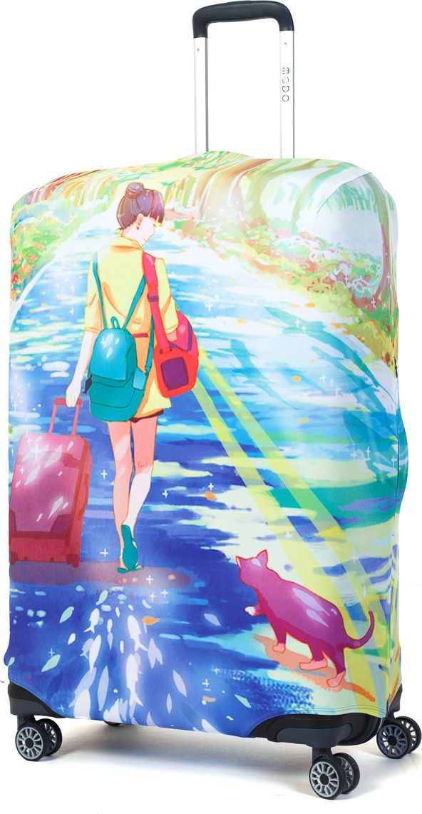 Чехол для чемодана Mettle Dream Of Road, размер L (высота чемодана: 75-82 см)LK-21000058Модный универсальный чехол для чемодана METTLE, подходит для больших чемоданов размера L и даже XL (высота: 75-82 см, ширина: 46-54 см,глубина: 29-36 см). Он выполнен из спандекса. Эластичная ткань со специальной UF-водоотталкивающей пропиткой лучше защитит ваш чемодан от грязи и солнечных лучей.Картинка чехла надолго останется яркой и красочной. Две боковые потайные молнии, усиленные дополнительными швами, предохраняютбоковые стороны и ручки чемодана от царапин и легких повреждений. Резинка с удобной соединяющей застёжкой надёжно фиксирует чехол начемодане. Нижняя молния имеет автоматический замок бегунка. В швы багажного чехла дополнительно вшит эластичный жгут для лучшей усадкии фиксации на чемодан. Вся фурнитура изготовлена в фирменном дизайне METTLE. Чехол упакован в функциональный мешочек из аналогичной ткани, который вы сможете использовать для хранения и переноски предметовнебольшого размера.