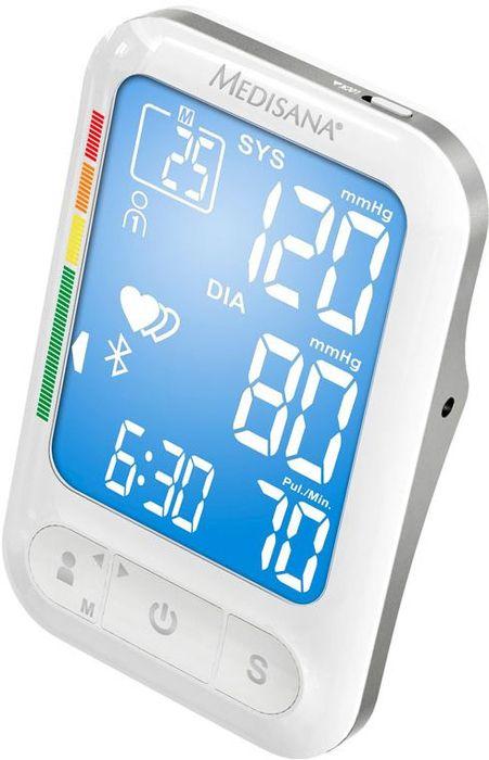 Medisana Плечевой тонометр BU 550 Connect4082035Точное измерение артериального давления на предплечье Быстрое получение результатов измерения, благодаря особой технологии. Результаты отображаются во время накачивания манжеты На дисплее отображаются следующие данные: систолическое и диастолическое давление, пульс, дата и время измерения Крупный ЖК – дисплей: данные отображаются на светящемся светло-синем фоне Функция выявления аритмии Цветная шкала ВОЗ на дисплее поможет оценить результаты измерений и степень риска 2 блока памяти по 500 ячеек, рассчитанные на 2-х разных пользователей Расчет среднего значения из последних 3-х результатов измерения Специальный режим измерений для гостей - результаты не фиксируются в памяти прибора Очень большие цифры - легко прочитать Передача данных с помощью технологии Bluetooth® в сервис VitaDock® Online через приложение VitaDock® для мобильных устройств с платформами iOS и Android Предусмотрена работа прибора от адаптера Удобный чехол для хранения Сертифицированное медицинское устройство