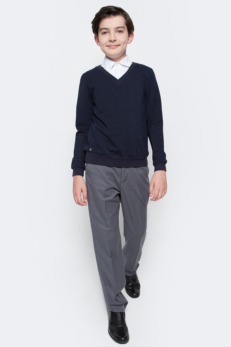 Джемпер для мальчика Nota Bene, цвет: темно-синий. CJK17017B29. Размер 164CJK17017A29/CJK17017B29Джемпер для мальчика Nota Bene выполнен из хлопкового трикотажа. Модель 2-в-1 с длинными рукавами дополнена вставкой, имитирующей рубашку.