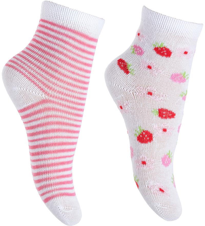 Носки для девочки PlayToday, цвет: белый, розовый, 2 пары. 378822. Размер 11 носки для девочки playtoday цвет розовый 2 пары 172041 размер 14