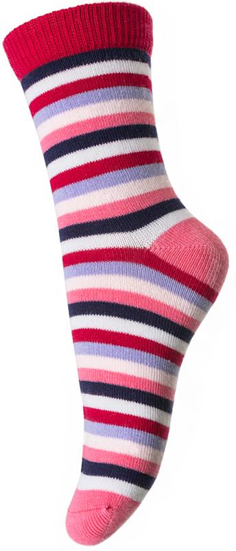 Носки для девочки PlayToday, цвет: красный, белый, сиреневый. 372093. Размер 16