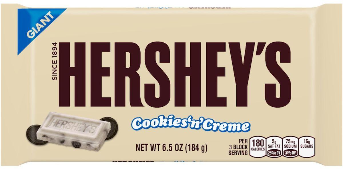 Hersheys белый шоколад с кусочками печенья гигантская плитка, 184 г5Молочный белый шоколад с кусочками печенья. Сливочный вкус со вкусом шоколадного печенья.