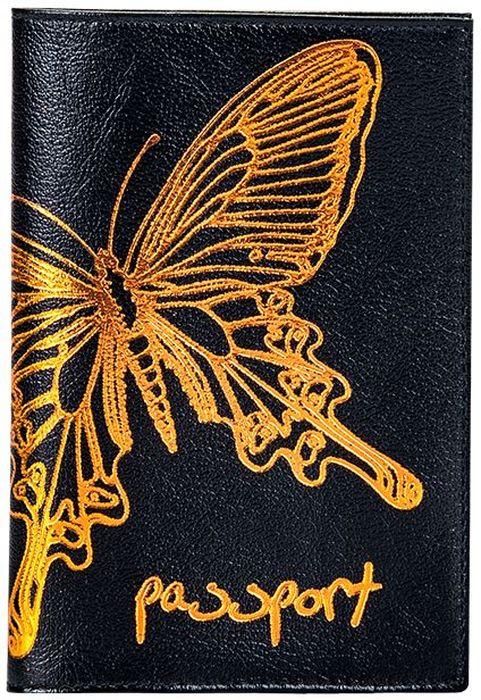 Обложка для паспорта женская Fabula  Butterfly , цвет: черный. O.14.LD - Обложки для паспорта