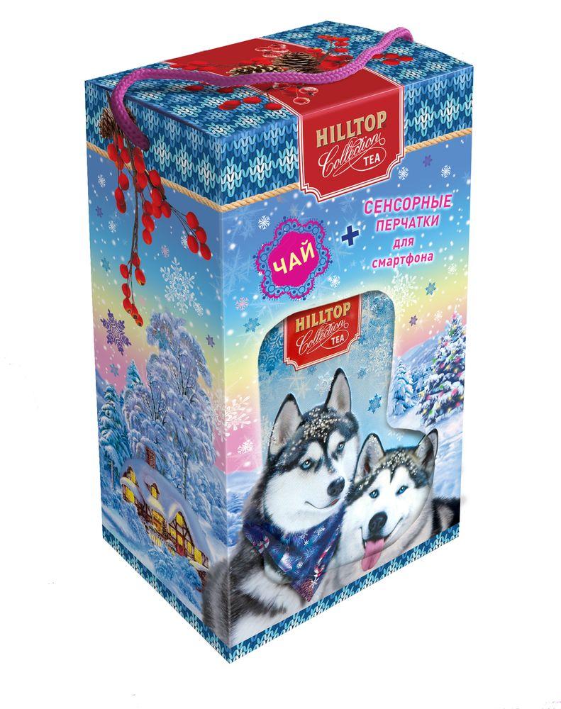 где купить Hilltop Набор Снежные хаски чай черный листовой Эрл Грей с перчатками, 80 г по лучшей цене