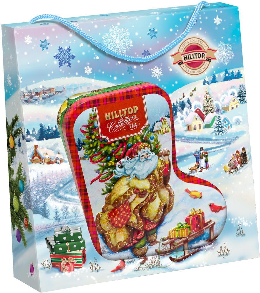 Hilltoр Волшебный Дед Мороз чай черный листовой подарок Цейлона, 80 г4607099308312_НГ