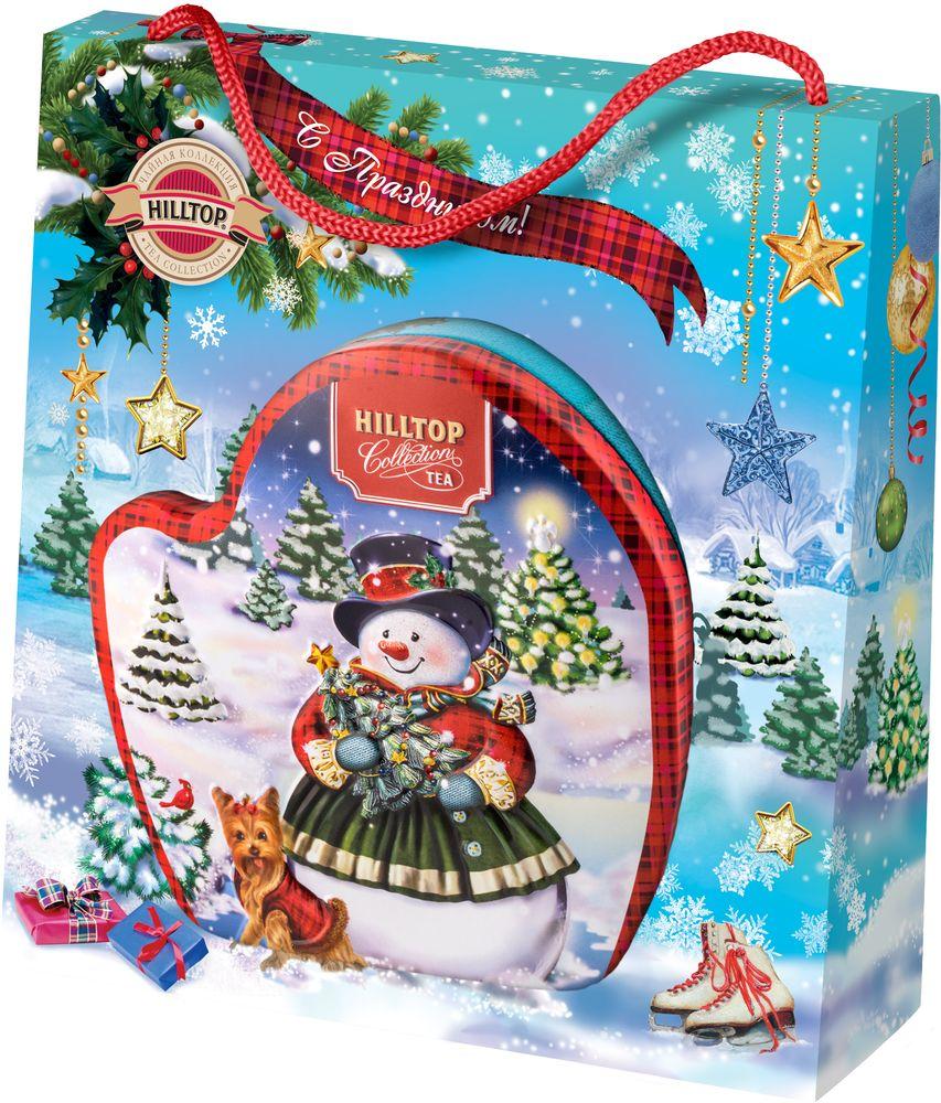 Hilltop Веселый снеговик чай черный листовой, 80 г raffaello конфеты с цельным миндальным орехом в кокосовой обсыпке 90 г