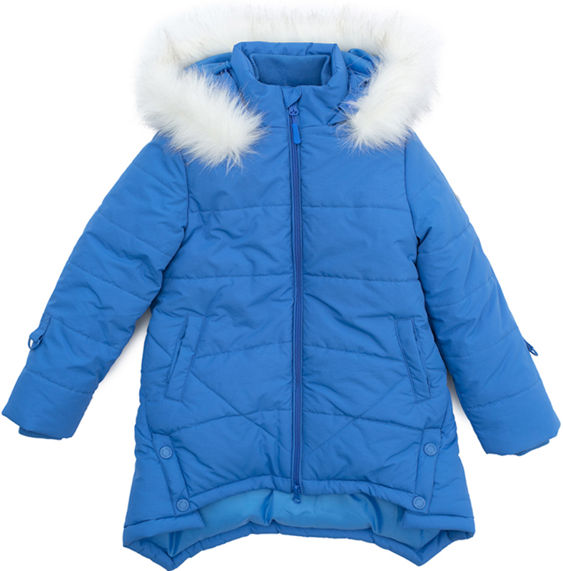 Пальто для девочки PlayToday, цвет: голубой. 372151. Размер 110372151Теплое пальто от PlayToday выполнено из водонепроницаемой ткани. Модель застегивается на молнию. Специальный карман для фиксации бегунка не позволит застежке травмировать нежную детскую кожу. Встрочной капюшон дополнен опушкой из искусственного меха, при необходимости мех можно отстегнуть. Контур капюшона регулируется шнуром-кулиской. Пальто с удлиненной спинкой. Подкладка выполнена из флиса. Воротник и манжеты изделия на мягких трикотажных резинках. Светоотражатели обеспечат видимость ребенка в темное время суток. Рукава дополнены кольцами для перчаток.