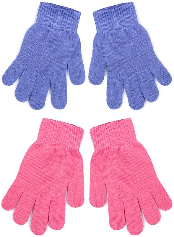 Перчатки для девочки PlayToday, цвет: розовый, сиреневый, 2 пары. 372084. Размер 13372084Вязаные перчатки PlayToday станут идеальным вариантом для прохладной погоды. Они очень мягкие, хорошо тянутся и прекрасно сохраняют тепло. На манжетах - плотная резинка, которая хорошо держит перчатки на руках ребенка.В комплект входит две пары перчаток.