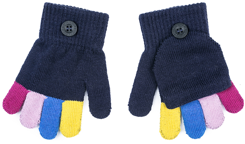 Перчатки для девочки PlayToday, цвет: темно-синий. 372172. Размер 13372172Перчатки-варежки PlayToday выполнены по технологии Yarn Dyed - в процессе производства используются разного цвета нити. При рекомендуемом уходе модель не линяет и надолго остается в первоначальном виде. Манжеты на плотной трикотажной резинке. Перчатки дополнены специальным карманом, за счет которого формируются варежки.
