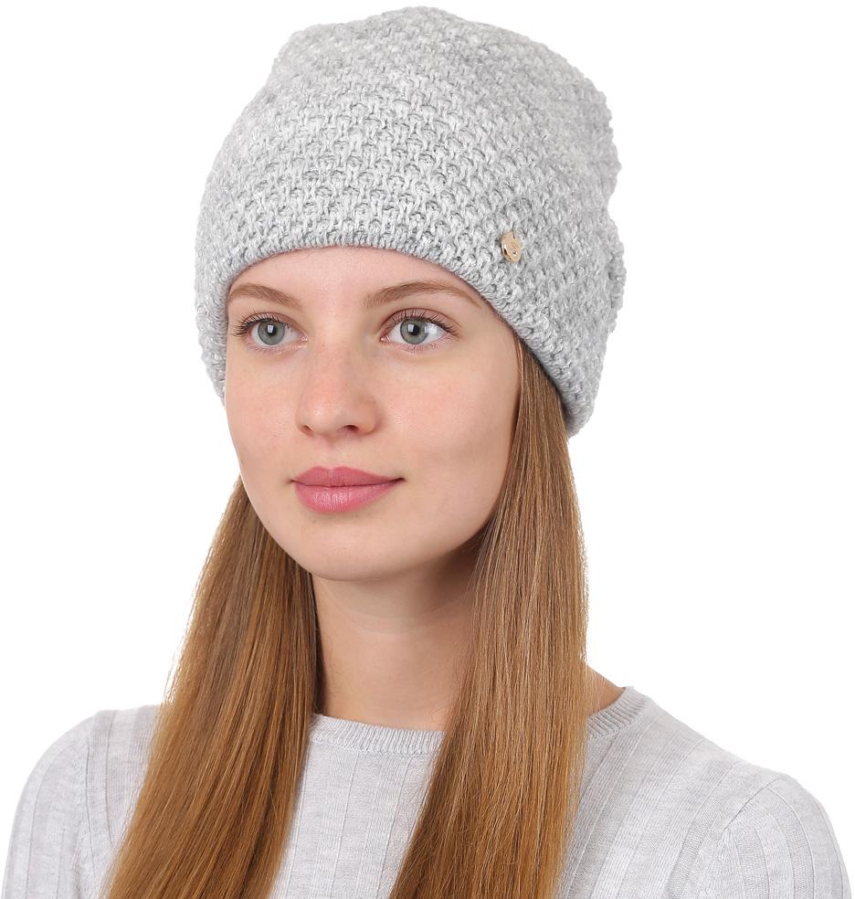 Шапка женская Fabretti, цвет: светло-серый. F2017-3-22. Размер универсальныйF2017-3-22Стильная женская шапка Fabretti отлично дополнит ваш образ и защитит от холода. Смесовая пряжа с шерстью в составе максимально сохраняет тепло и обеспечивает удобную посадку. Классическая вязаная шапка оформлена металлическим декоративным элементом. Такая шапка станет отличным дополнением к вашему осеннему или зимнему гардеробу, в ней вам будет уютно и тепло!