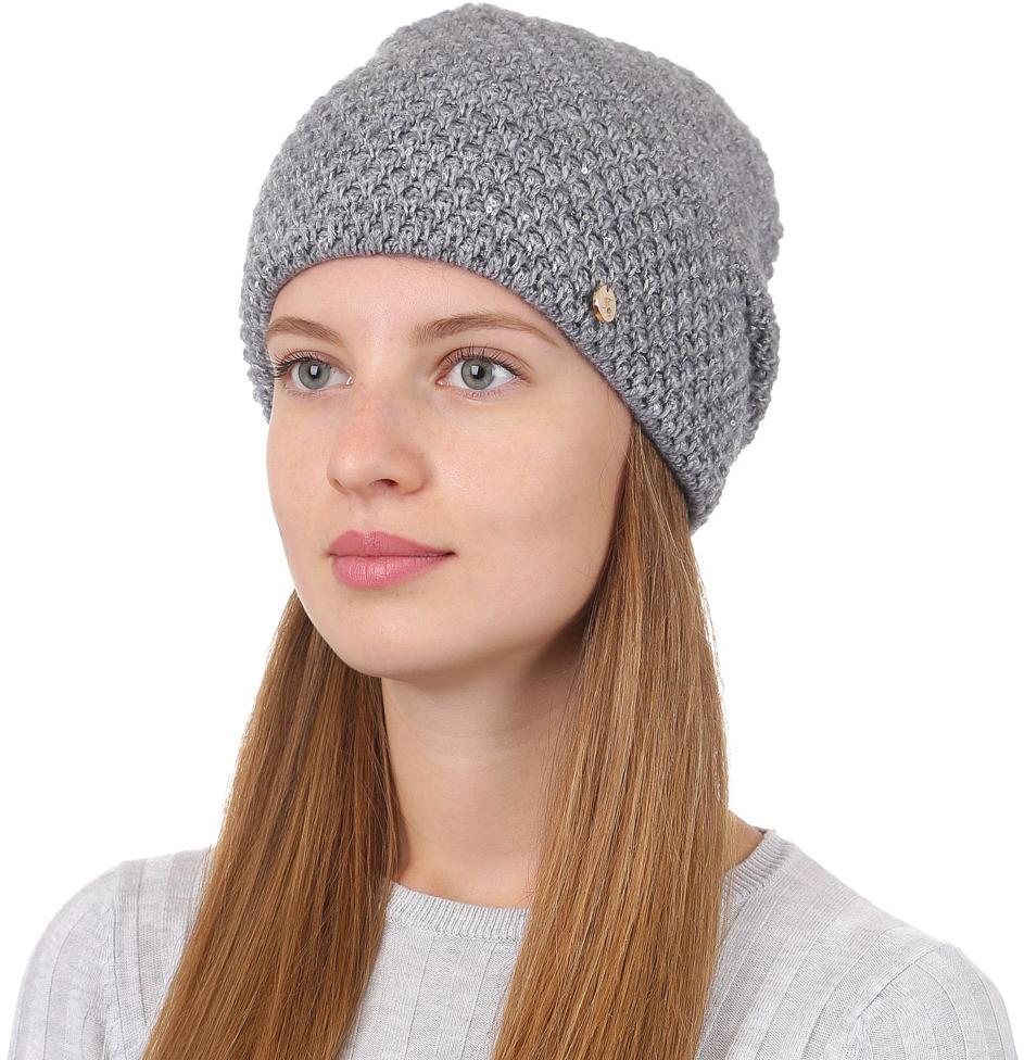 Шапка женская Fabretti, цвет: серый. F2017-3-33. Размер универсальныйF2017-3-33Стильная женская шапка Fabretti отлично дополнит ваш образ и защитит от холода. Смесовая пряжа с шерстью в составе максимально сохраняет тепло и обеспечивает удобную посадку. Классическая вязаная шапка оформлена металлическим декоративным элементом. Такая шапка станет отличным дополнением к вашему осеннему или зимнему гардеробу, в ней вам будет уютно и тепло!