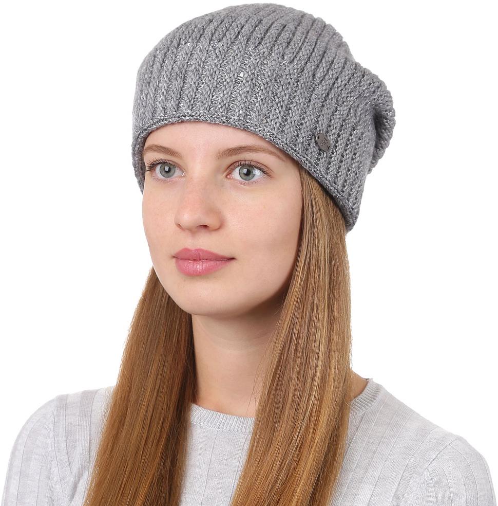 Шапка женская Fabretti, цвет: серый. F2017-5-33. Размер универсальныйF2017-5-33Универсальная женская шапка от Fabretti выполнена из высококачественных материалов и дополнена декоративным, металлическим элементом. Простой аккуратный дизайн поможет вам дополнить любой современный образ, а также создать неповторимый модный и элегантный стиль. Такой аксессуар можно сочетать с любым нарядом.
