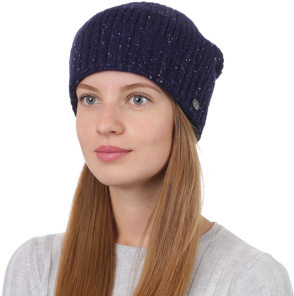 Шапка женская Fabretti, цвет: темно-синий. F2017-5-98. Размер универсальныйF2017-5-98Универсальная женская шапка от Fabretti выполнена из высококачественных материалов и дополнена декоративным, металлическим элементом. Простой аккуратный дизайн поможет вам дополнить любой современный образ, а также создать неповторимый модный и элегантный стиль. Такой аксессуар можно сочетать с любым нарядом.