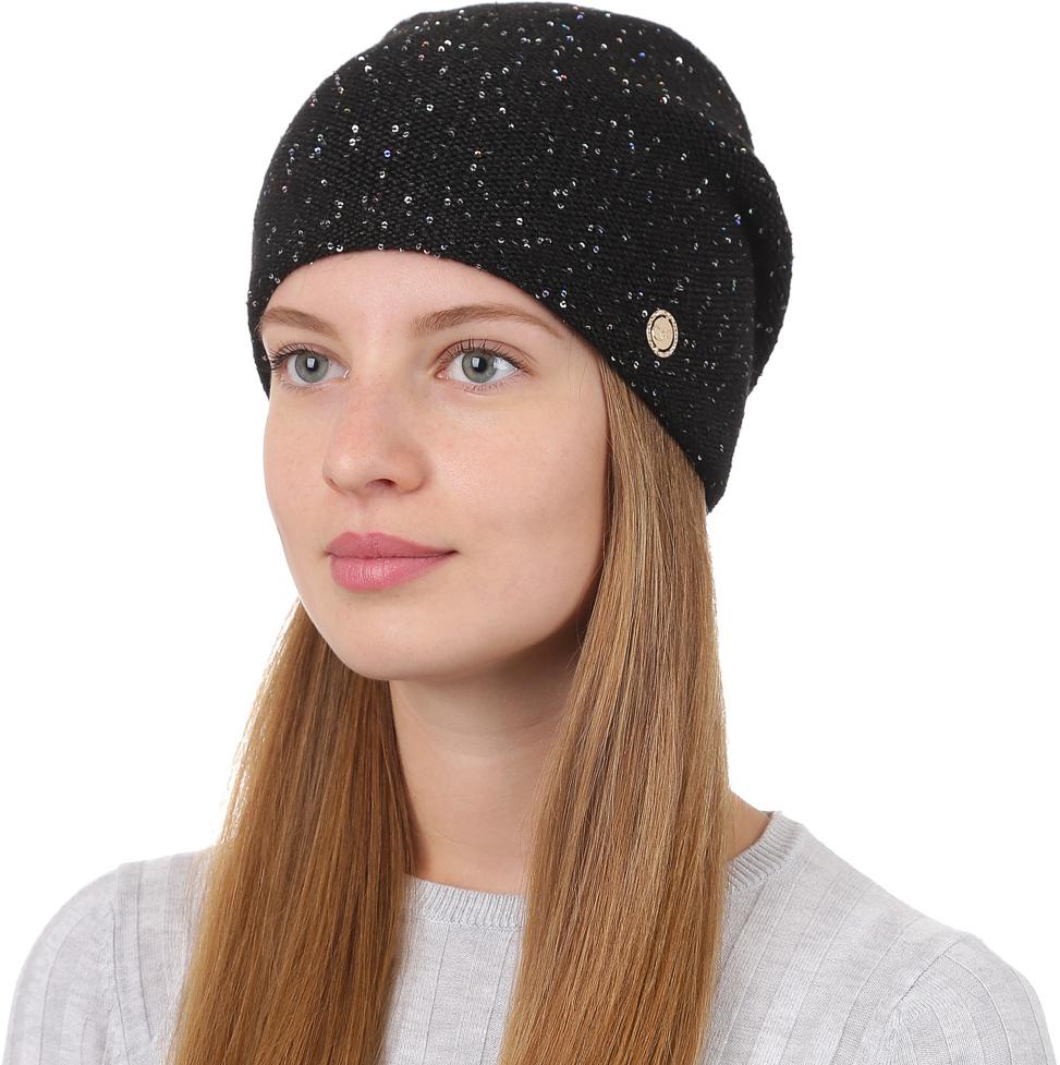 Шапка женская Fabretti, цвет: черный. F2017-6-18. Размер универсальныйF2017-6-18Универсальная женская шапка от Fabretti, выполненая из высококачественных материалов, дополнена декоративным, металлическим элементом и пайетками. Простой аккуратный дизайн поможет вам дополнить любой современный образ, а также создать неповторимый модный и элегантный стиль. Такой аксессуар можно сочетать с любым нарядом.