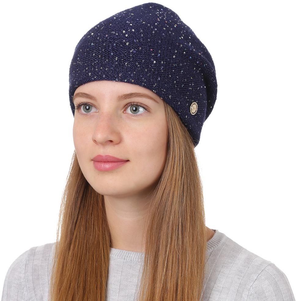 Шапка женская Fabretti, цвет: темно-синий. F2017-6-98. Размер универсальныйF2017-6-98Универсальная женская шапка от Fabretti, выполненая из высококачественных материалов, дополнена декоративным, металлическим элементом и пайетками. Простой аккуратный дизайн поможет вам дополнить любой современный образ, а также создать неповторимый модный и элегантный стиль. Такой аксессуар можно сочетать с любым нарядом.