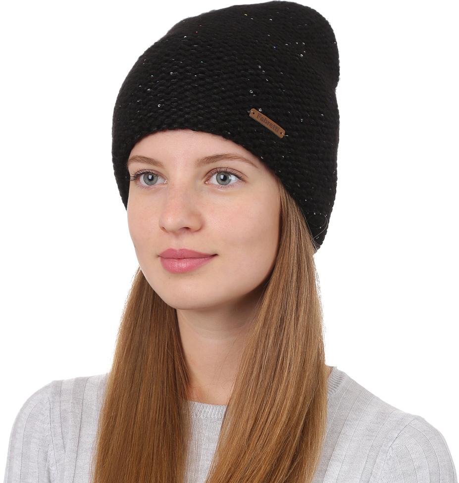 Шапка женская Fabretti, цвет: черный. F2017-7-18. Размер универсальныйF2017-7-18Стильная женская шапка Fabretti отлично дополнит ваш образ и защитит от холода. Смесовая пряжа с шерстью в составе максимально сохраняет тепло и обеспечивает удобную посадку. Шапка крупной вязки оформлена кожаной нашивкой с названием бренда. Такая шапка станет отличным дополнением к вашему осеннему или зимнему гардеробу, в ней вам будет уютно и тепло!