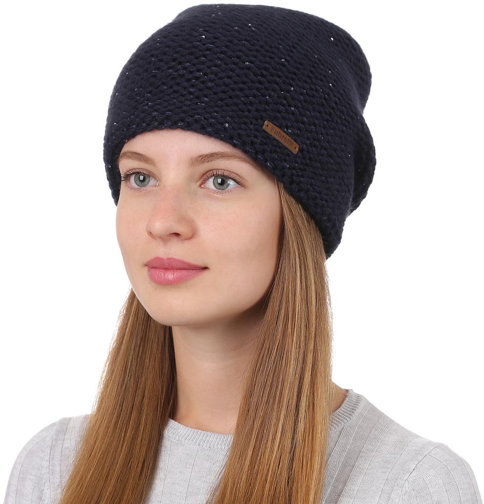 Шапка женская Fabretti, цвет: темно-синий. F2017-7-98. Размер универсальныйF2017-7-98Стильная женская шапка Fabretti отлично дополнит ваш образ и защитит от холода. Смесовая пряжа с шерстью в составе максимально сохраняет тепло и обеспечивает удобную посадку. Шапка оформлена кожаной нашивкой с названием бренда. Такая шапка станет отличным дополнением к вашему осеннему или зимнему гардеробу, в ней вам будет уютно и тепло!