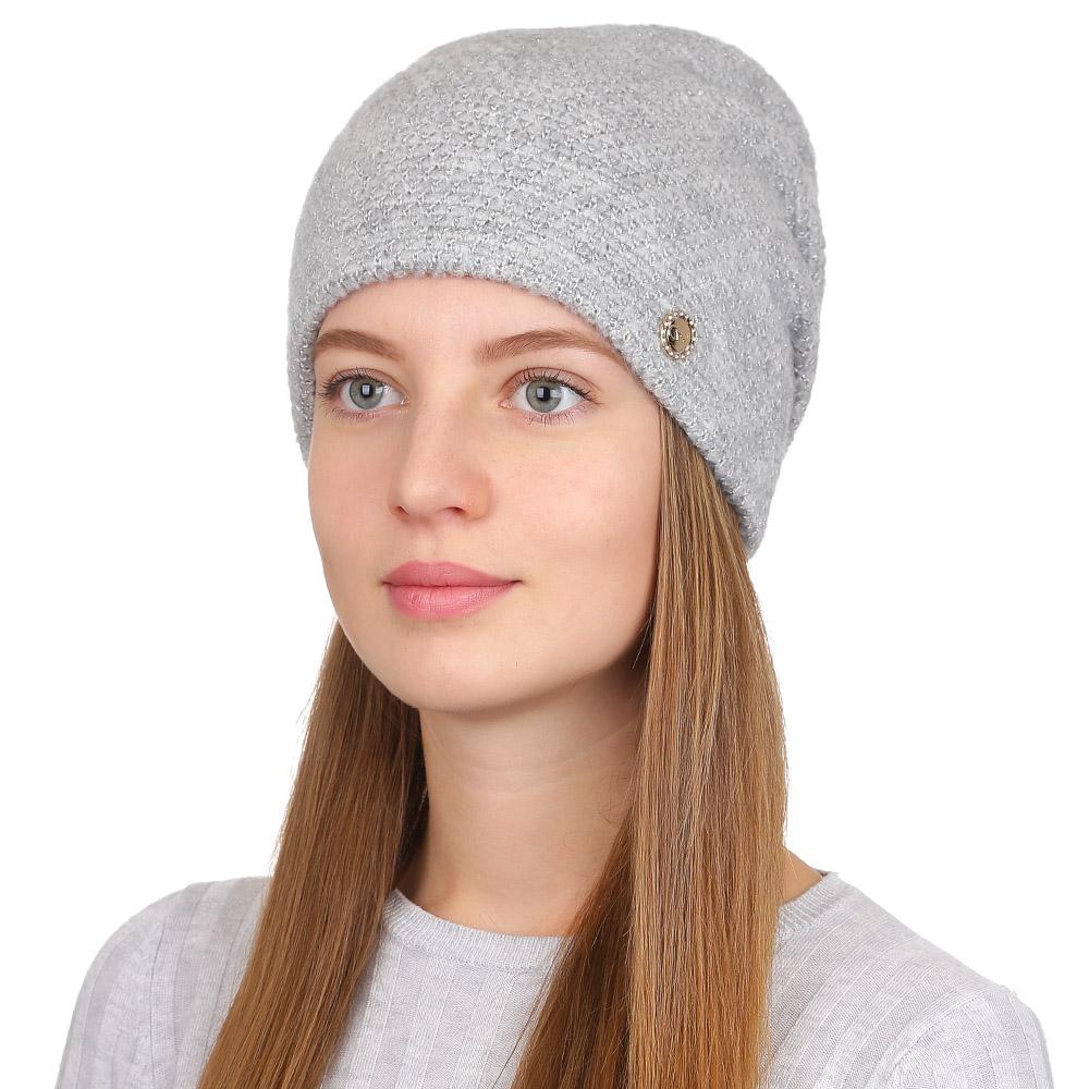 Шапка женская Fabretti, цвет: светло-серый. F2017-11-22. Размер универсальныйF2017-11-22Стильная женская шапка Fabretti отлично дополнит ваш образ и защитит от холода. Смесовая пряжа с шерстью в составе максимально сохраняет тепло и обеспечивает удобную посадку. Классическая вязаная шапка оформлена металлическим декоративным элементом. Такая шапка станет отличным дополнением к вашему осеннему или зимнему гардеробу, в ней вам будет уютно и тепло!