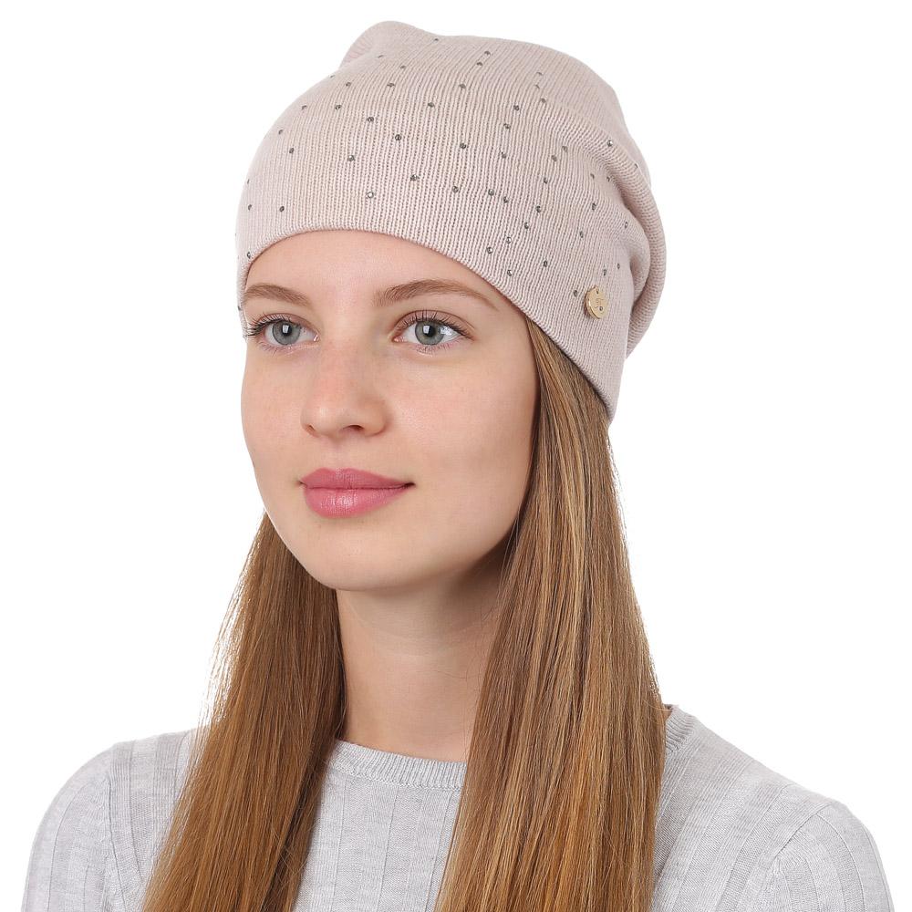 Шапка женская Fabretti, цвет: бежевый. F2017-15-61. Размер универсальныйF2017-15-61Универсальная женская шапка от итальянского бренда Fabretti выполнена из шерсти и акрила, и дополнена инкрустацией из камней. Простой аккуратный дизайн поможет вам дополнить любой современный образ, а также создать неповторимый модный и элегантный стиль. Такой аксессуар можно сочетать с любым нарядом.