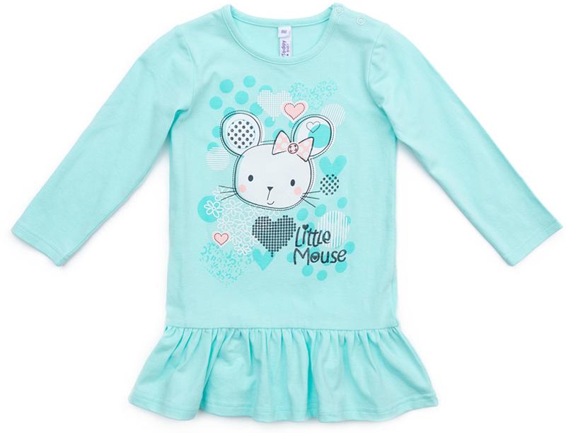 Платье для девочки PlayToday, цвет: голубой. 378076. Размер 92378076Платье PlayToday с длинным рукавом и заниженной талией. Модель из эластичного хлопка по низу дополнена оборкой. Для удобства снимания и одевания на плече расположены застежки-кнопки. В качестве декора использован яркий принт.