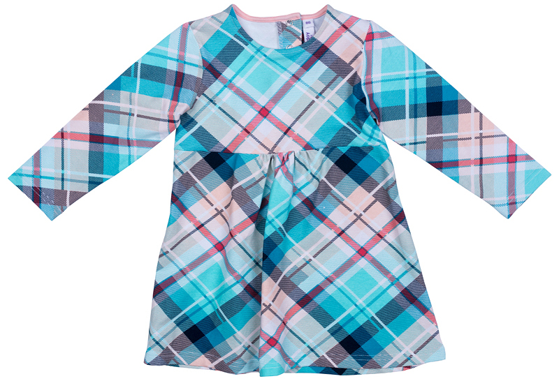 Платье для девочки PlayToday, цвет: голубой, розовый. 378072. Размер 80378072Платье PlayToday с округлым вырезом горловины и длинным рукавом. Модель расклешенная книзу выполнена из натуральной принтованной ткани. На спинке удобные застежки-кнопки.