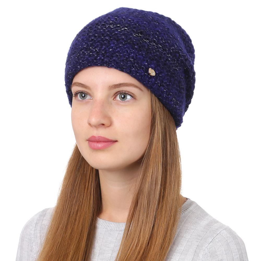 Шапка женская Fabretti, цвет: темно-синий. F2017-22-98. Размер универсальныйF2017-22-98Стильная женская шапка Fabretti отлично дополнит ваш образ и защитит от холода. Смесовая пряжа с шерстью в составе максимально сохраняет тепло и обеспечивает удобную посадку. Шапка оформлена металлической пластиной с названием бренда. Такая шапка станет отличным дополнением к вашему осеннему или зимнему гардеробу, в ней вам будет уютно и тепло!