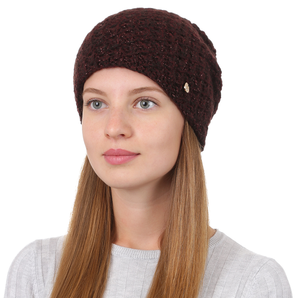 Шапка женская Fabretti, цвет: бордовый. F2017-23-26. Размер универсальныйF2017-23-26Стильная женская шапка Fabretti отлично дополнит ваш образ и защитит от холода. Смесовая пряжа с шерстью в составе максимально сохраняет тепло и обеспечивает удобную посадку. Классическая вязаная шапка оформлена металлическим декоративным элементом. Такая шапка станет отличным дополнением к вашему осеннему или зимнему гардеробу, в ней вам будет уютно и тепло!