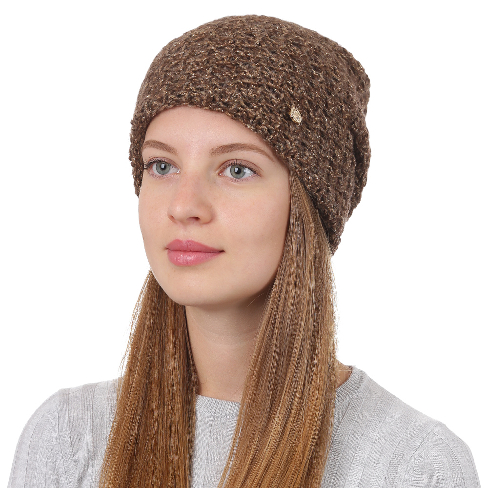 Шапка женская Fabretti, цвет: коричневый. F2017-23-85. Размер универсальныйF2017-23-85Стильная женская шапка Fabretti отлично дополнит ваш образ и защитит от холода. Смесовая пряжа с шерстью в составе максимально сохраняет тепло и обеспечивает удобную посадку. Классическая вязаная шапка оформлена металлическим декоративным элементом. Такая шапка станет отличным дополнением к вашему осеннему или зимнему гардеробу, в ней вам будет уютно и тепло!